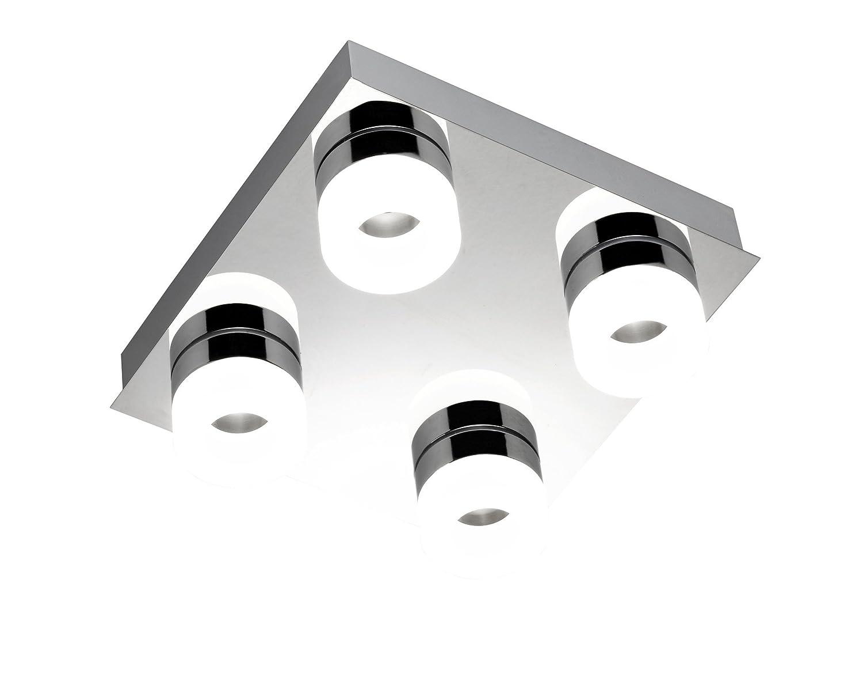WOFI Deckenleuchte Spa-Line, 4-flammig Serie Luce Farbe 4 x LED / 3, 6 W, 26 x 9 x 26 cm, 3000 k, 300 lm, Energieeffizenzklasse A+ Badleuchte Schutzart IP23, chrom 9502.04.01.0044