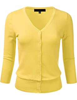 72183124712c FLORIA Women s Button Down 3 4 Sleeve V-Neck Stretch Knit Cardigan Sweater (