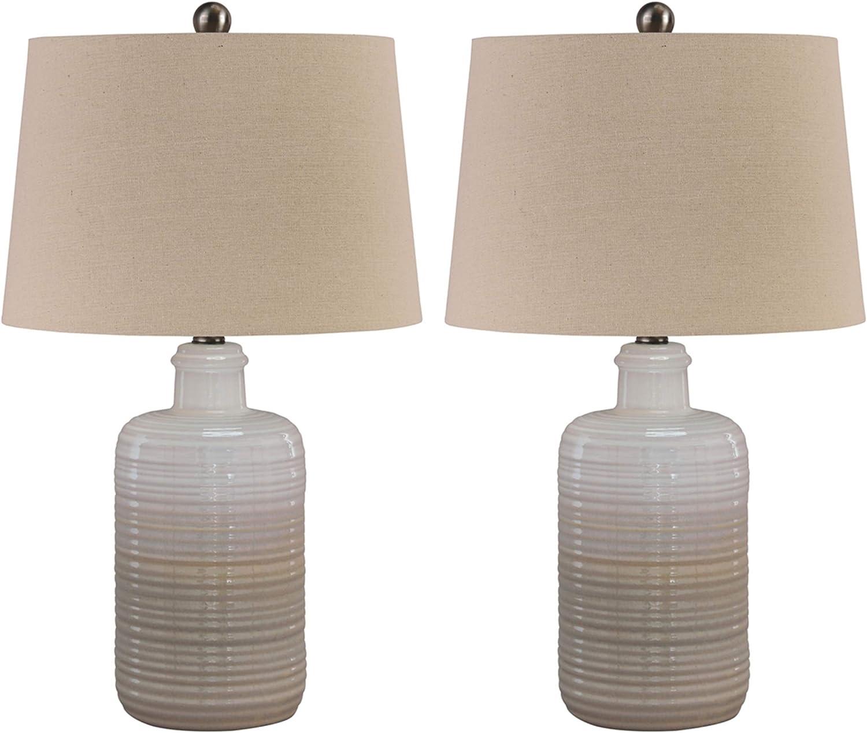 Ashley Furniture Signature Design Marnina Ceramic Table Lamp Set Of Two Taupe Amazon Com