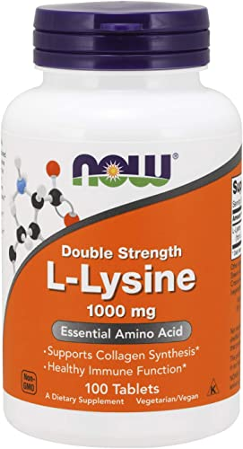 NOW Supplements, L-Lysine L-Lysine Hydrochloride 1,000 mg, Double Strength, Amino Acid, 100 Tablets