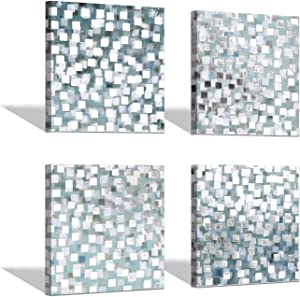 "Gray Abstract Canvas Wall Art: Silver Foil & Grey Squares Pictures Modern Abstract Painting for Office ( 12"" x 12"" x 4 Panels )"