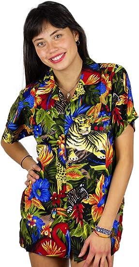 Original King Kameha | Funky Camisa Hawaiana | Mujeres | XS-6XL | Manga Corta Bolsillo Delantero | impresión De Hawaii| Jungla: Amazon.es: Ropa y accesorios