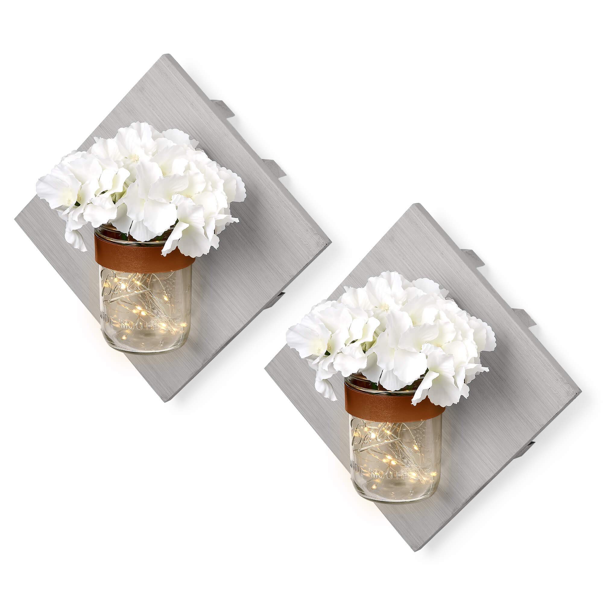 ArtsyCrafts Rustic Wood Mason Jar Wall Sconces Set of Two Grey - Includes Hydrangea Flower & LED Fairy Lights for A Warm Farmhouse Decoration. Enhance Your Home, Kitchen, Bathroom and Bedroom Decor by Arsty Crafts