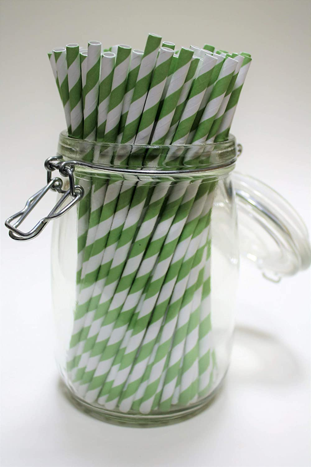 250 Green /& White Striped Paper Straws - Pack Size 250//500 Biodegradable//Eco-Friendly//Highly Durable//Food Safe//Suitable for All Occasions 6mm x 200mm