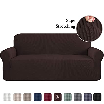 Sofa Slipcovers 3 Seater Sofa Covers for 3 Cushion Couch Sofa Slip Cover  Brown Couch Covers Lounge Cover Kids Sofa Covers for Leather Sofa Stretch  ...