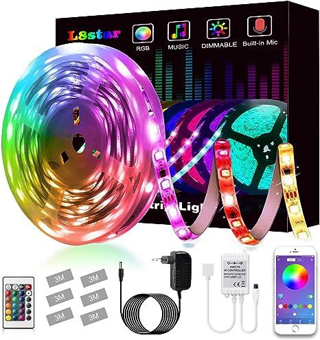 L8star - Tira de luces LED, 5 m, SMD 5050 RGB, con controlador Bluetooth, sincronización con música, apto para TV, dormitorio, decoración para fiestas y para el hogar: Amazon.es: Iluminación