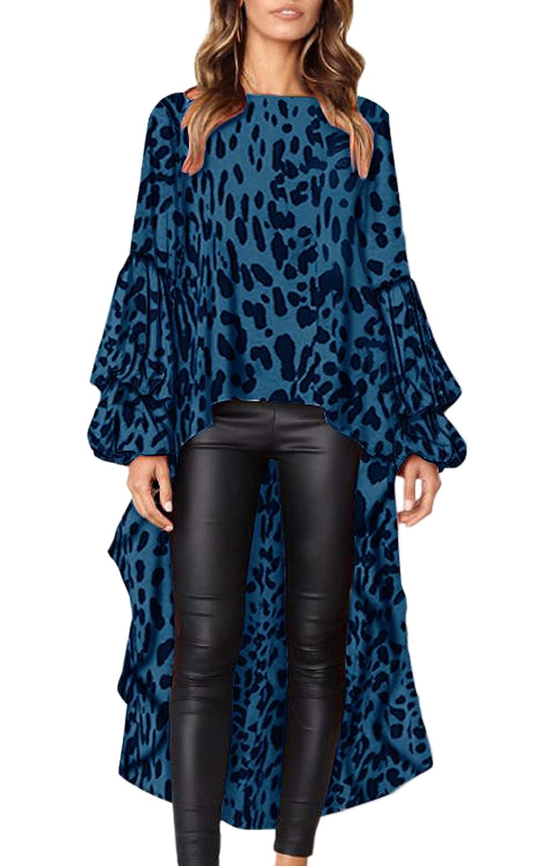 bluee Leopard Hiblueco Women's Double Layered High Low Asymmetrical Tunic Top Blouse