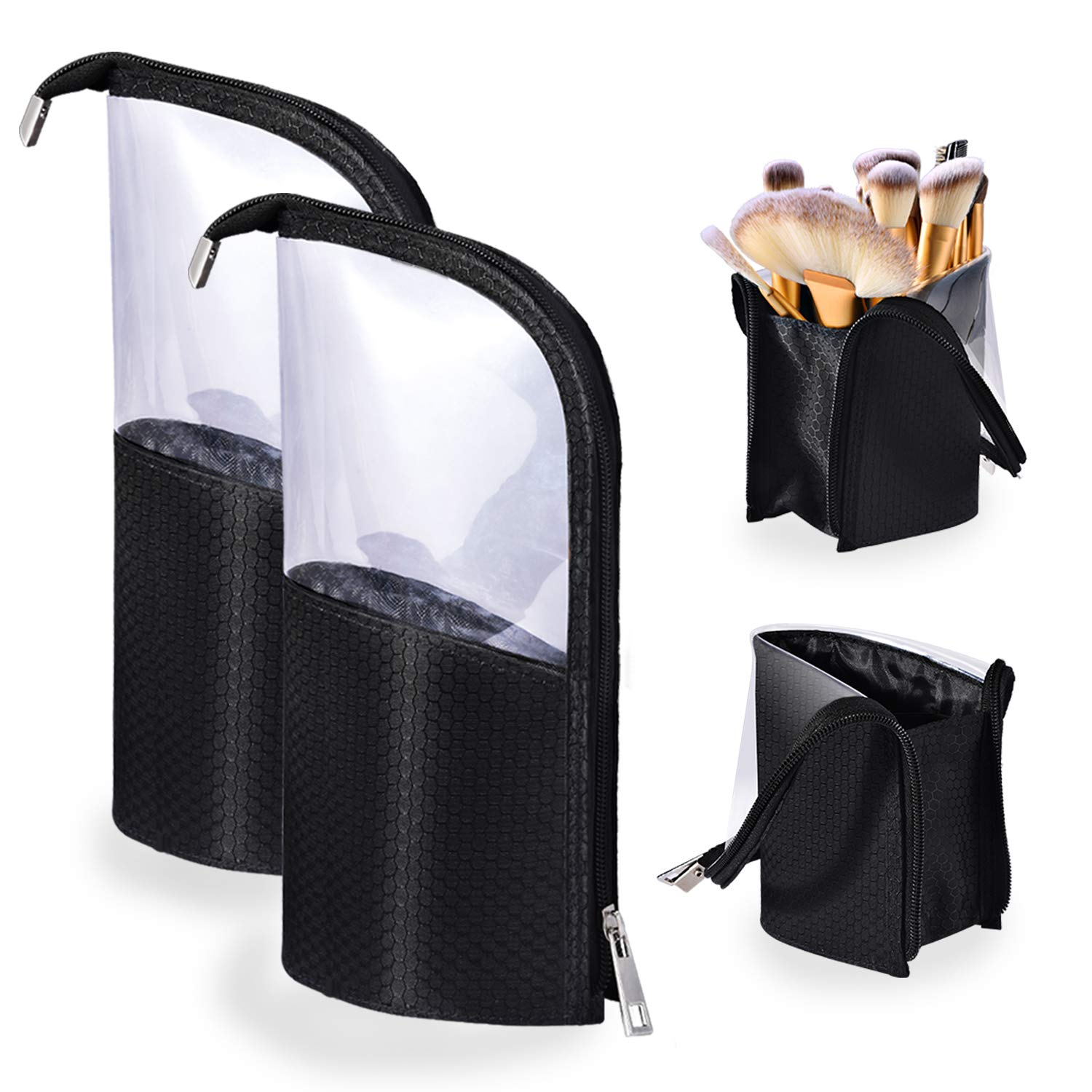 Travel Make-up Brush Cup Holder Organizer Bag 2-Pack, Pencil Pen Case for Desk, Clear Plastic Cosmetic Zipper Pouch, Portable Waterproof Dust-Free Stand-Up Small Toiletry Stationery Bag Divider, Black