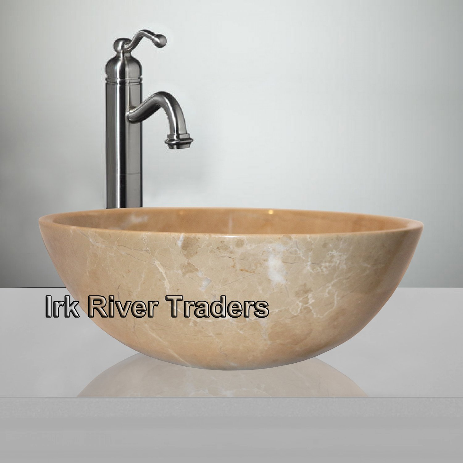 Belgravia Marble Natural Marble Stone Bathroom Basin Sink Small Cloakroom Counter Top Vessel Vanity Wash Bowl Bath Countertop Sink Deep Round (12
