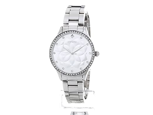 Amazon.com: Invicta Womens Wildflower Quartz Watch with Stainless-Steel Strap, Silver, 16 (Model: 24536: Invicta: Watches