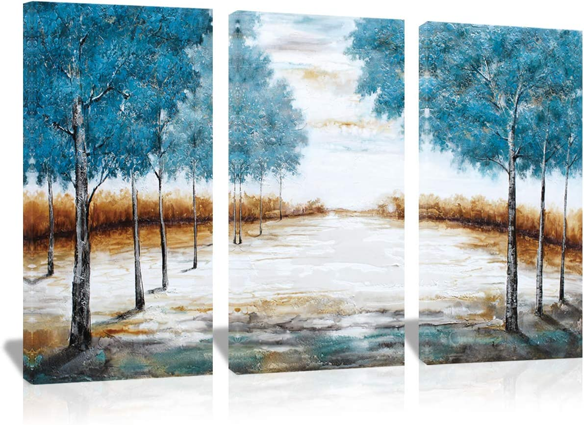3 Panels Tree Oil Paintings on Canvas Forest Landscape Modern Abstract Wall Art 100 Hand-Painted Nature Artwork Framed for Living Room Wall Decorations Ready to Hang