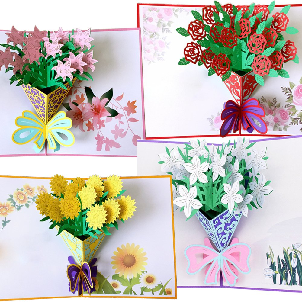Handmade 3D Pop-Up Flower Cards with Envelopes