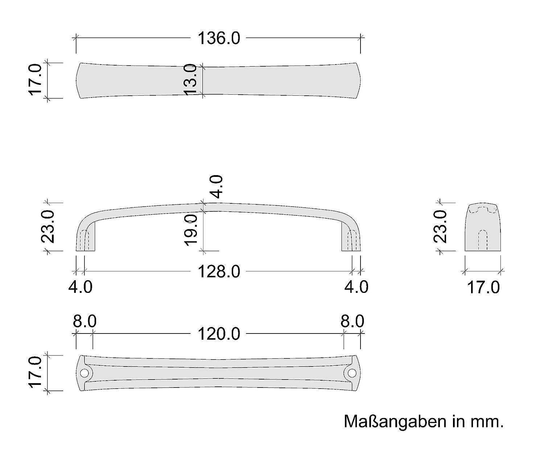 Gedotec Design B/ügelgriff Vintage 128 mm M/öbelgriff Messing Kupfer rustikal Bogengriff Antik geb/ürstet H10313 K/üchengriff f/ür M/öbel /& Kommoden 1 St/ück Schubladengriff K/üche im Landhaus-Stil