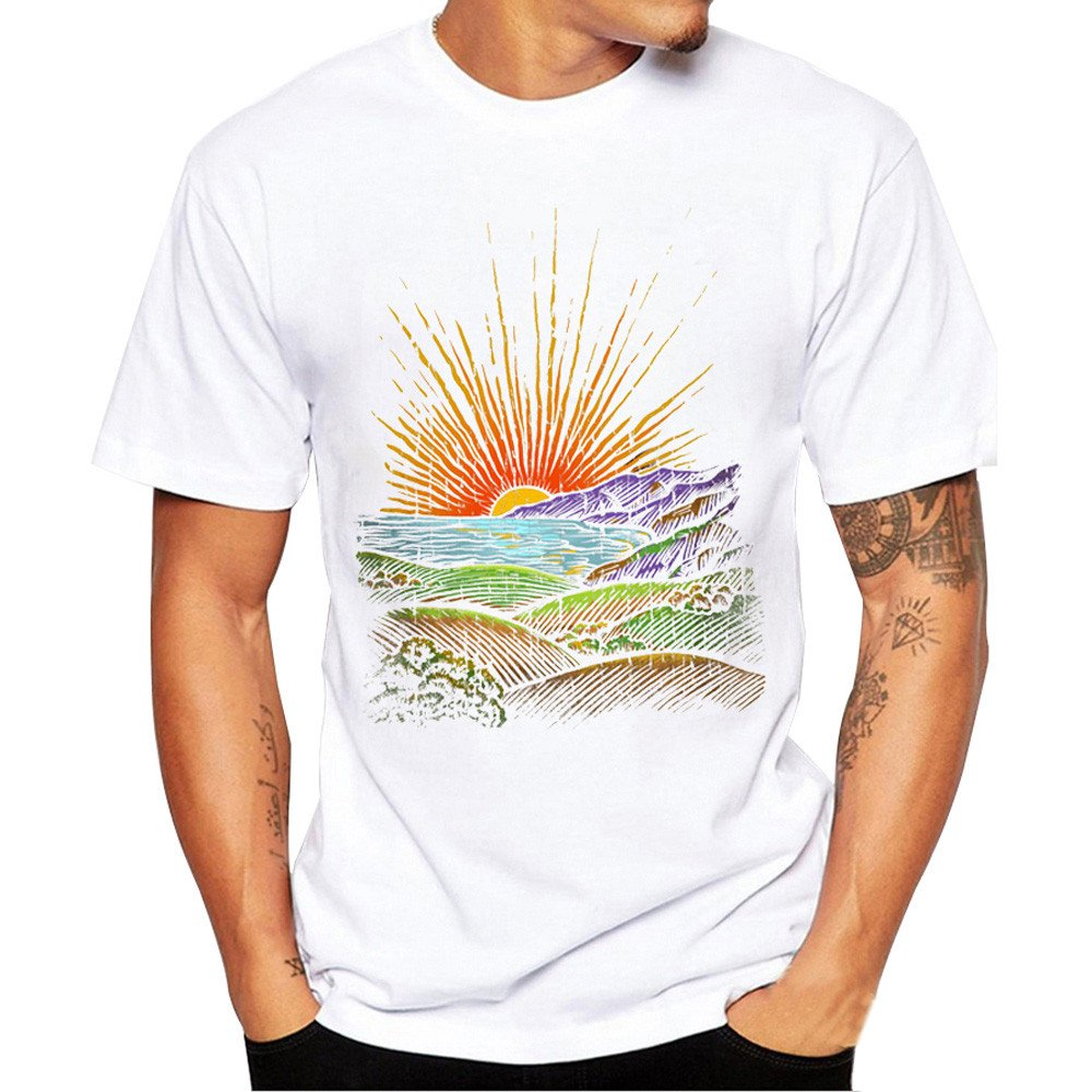 MISYAA White T Shirts for Men, Sunrise Art Tee Shirt Short Sleeve Sweatshirt Muscle Tank Top Friends Gifts Mens Tops