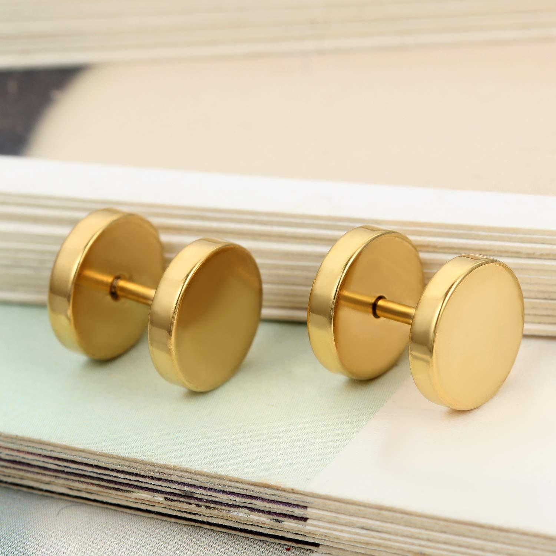 Flongo Men's Women's 10mm Wide Stainless Steel Gold Tapers Cheater Faux Fake Ear Plugs Gauges Plugs Tunnel Double Side Stud Earrings by Flongo (Image #2)