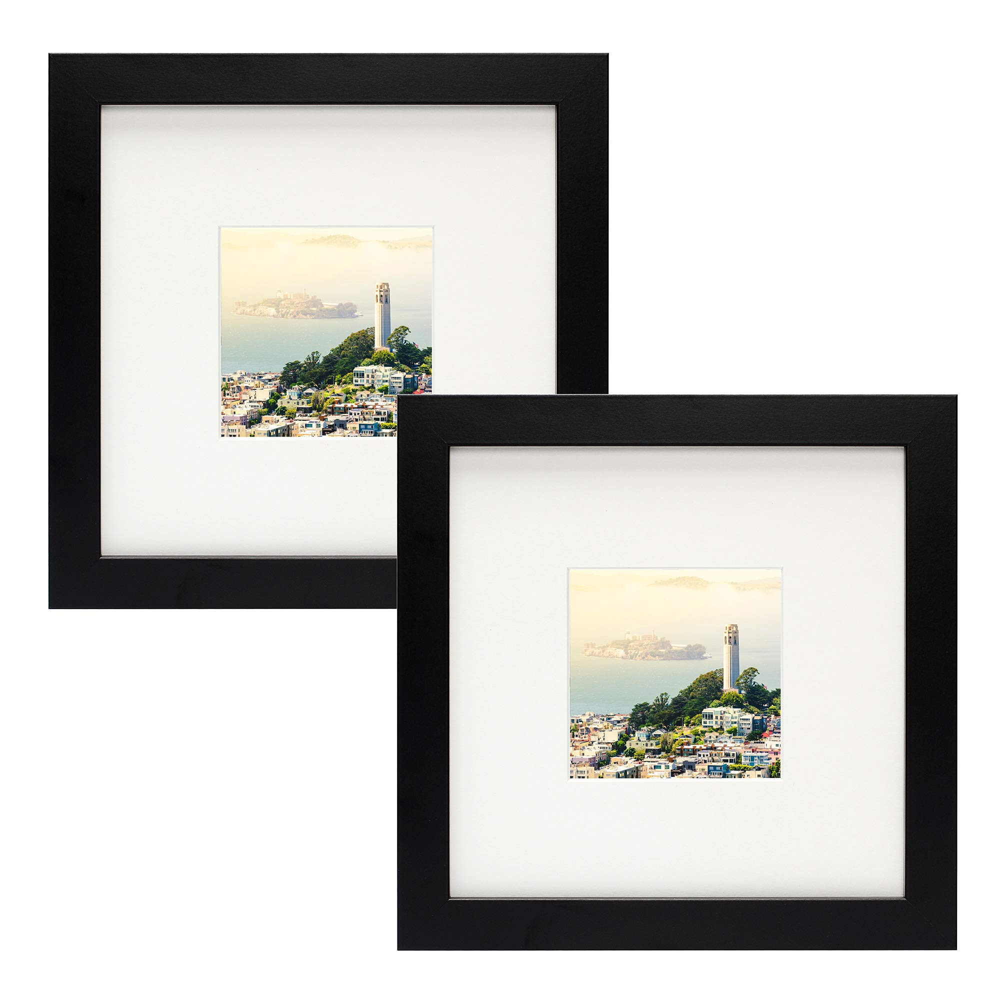 Frametory,Set of 2 Black Square Instagram Photo Frame -8X8 Table-Top (4x4 Matted) - Wide Molding - Built in Hanging Features (8x8 Set of 2, Black) by Frametory