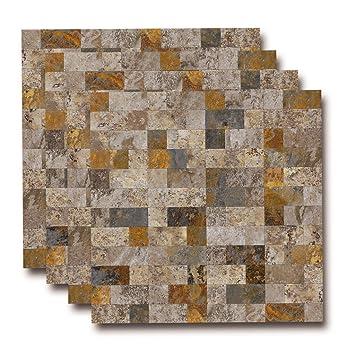Amazon.com: PVC Peel and Stick Slate Backsplash Tile , Stick on ...