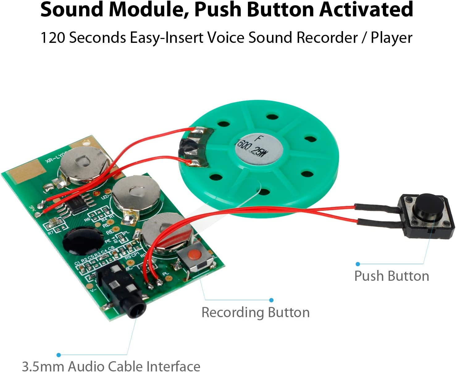 EZSound Module Push Button Activated 120 Seconds Recording Easy to Record