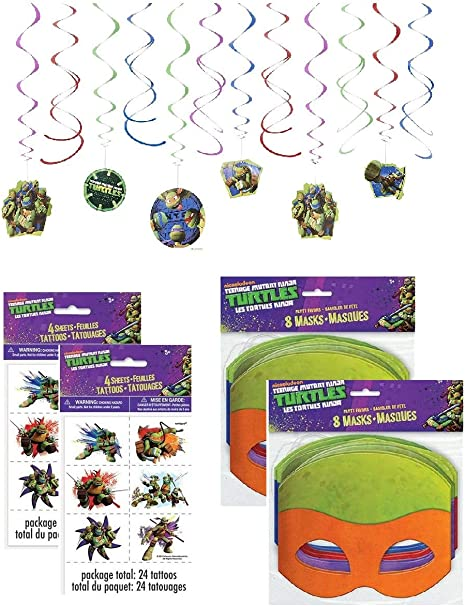 Teenage Mutant Ninja Turtle Birthday Party Supplies for 16 - 16 Masks, 48 Tattoos, One 12-Piece Swirl Hanging Decorations