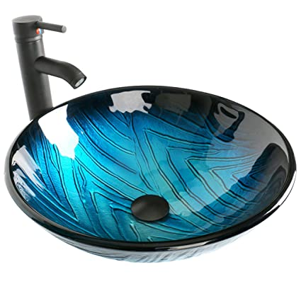 Elecwish Bathroom Vessel Sink With Faucet Mounting Ring And Pop Up Drain  16.5u0026quot; Round Bowl