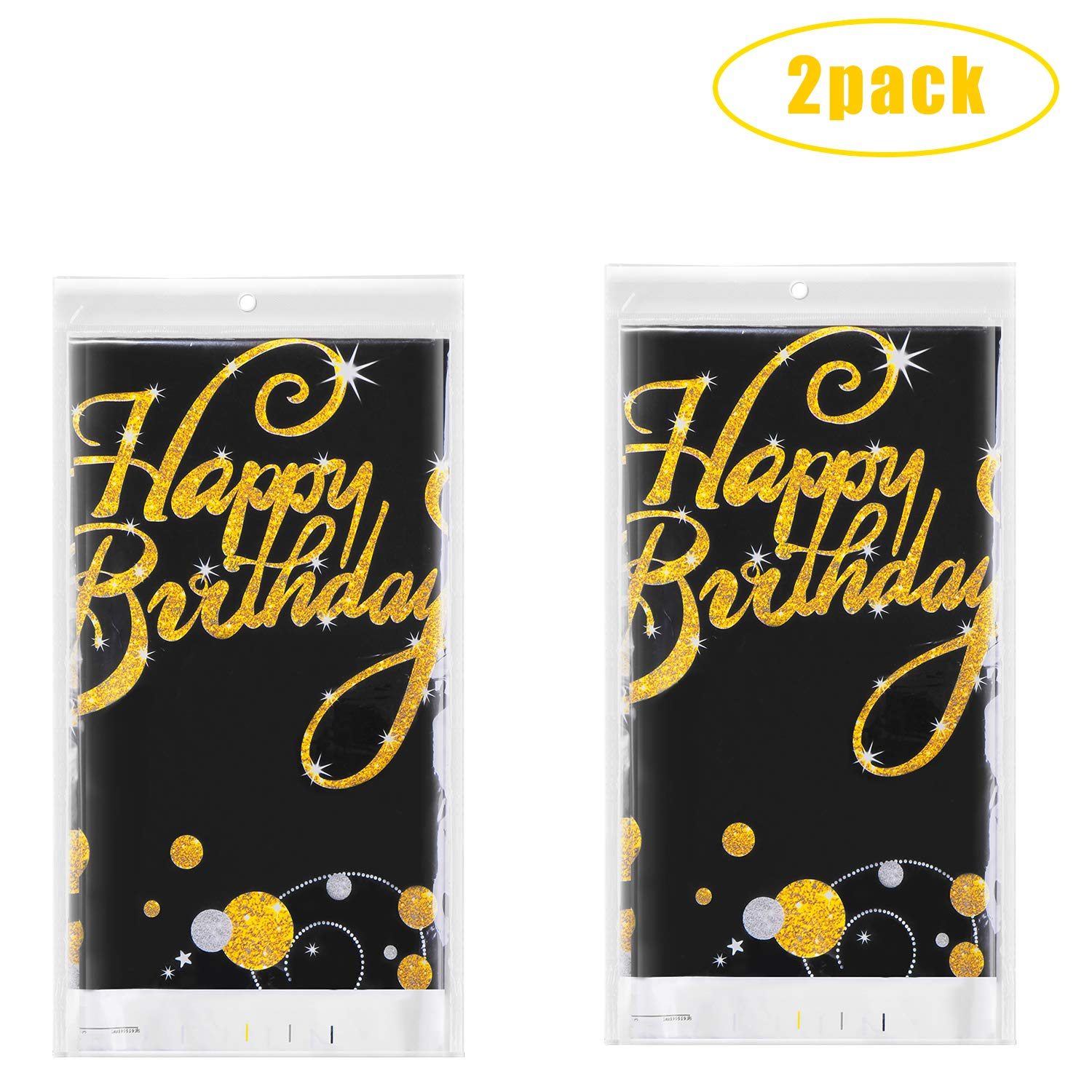 Anniversary 52 x 90 Happy 90th 80th 70th 60th 50th 40th 30th Birthday Tablecloth,Black and Gold Table Cover,for Party Supplies Decoration Thanksgiving Christmas Wedding,Bridal Shower
