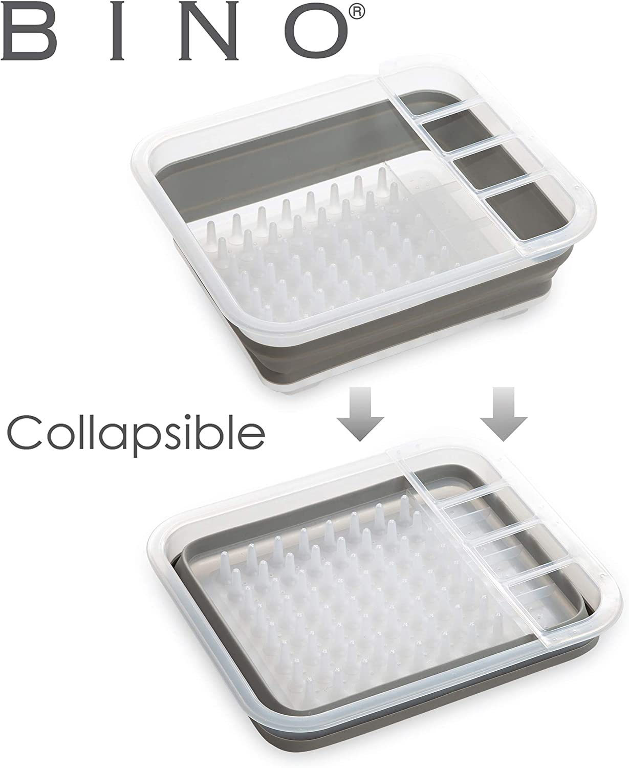 BINO Collapsible Dish Drying Rack - Space Saving Folding Dish and Cutlery Drainer for Kitchen, Frosted