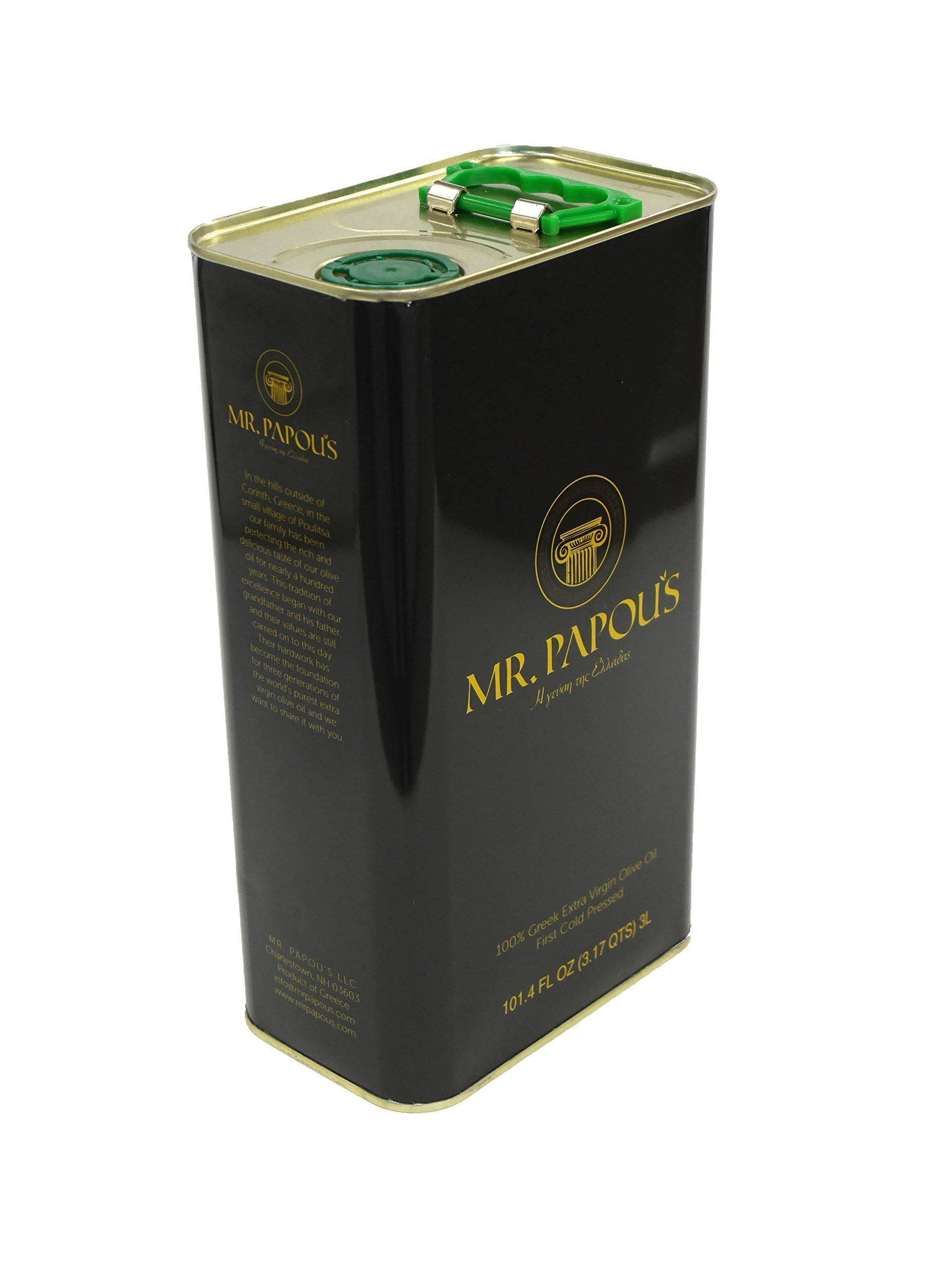 Mr. Papou's | Extra Virgin Olive Oil | First Cold Pressed | Family Owned | Harvested in Corinth, Greece | 3 Liter - 101.4 fl oz by Mr. Papou's (Image #1)