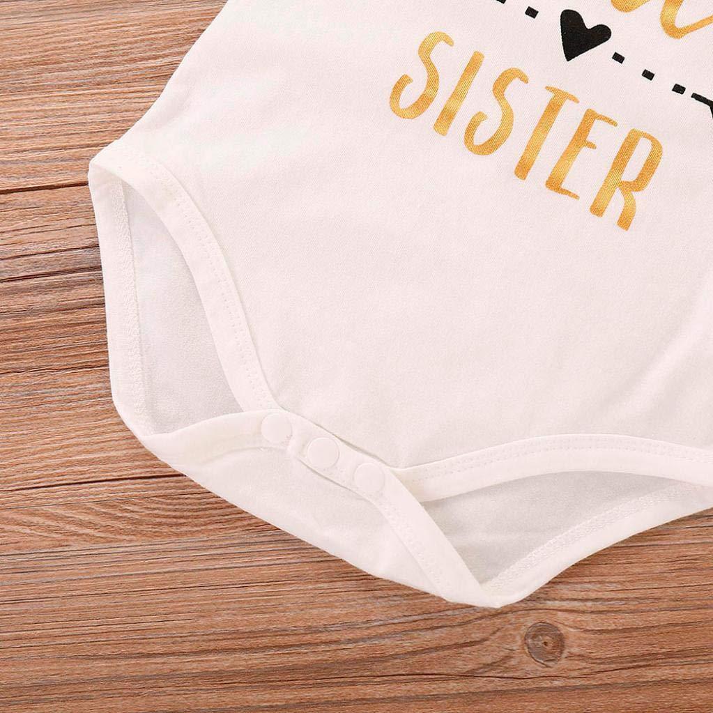 WARMSHOP Zero Shipping 4pcs Little Sister Baby Girls Boys Letter Print Cotton Romper Jumpsuit Flower Pattern Pants Clothes