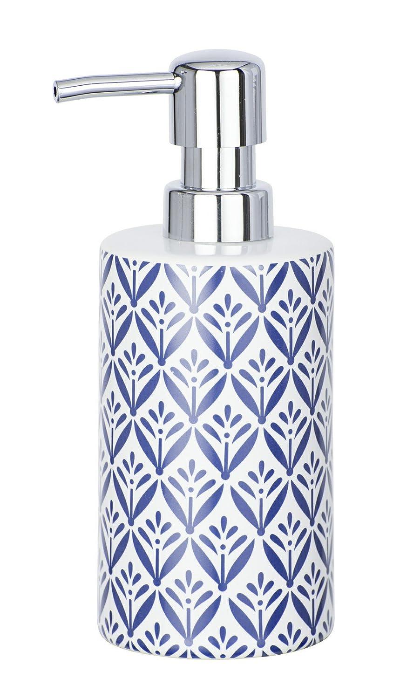 Wenko Dispenser Sapone In Ceramica Lorca, Blu, Blu scuro, 7x 8.5x 18cm 23205100