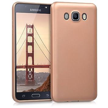 kwmobile Funda para Samsung Galaxy J7 (2016) - Carcasa para móvil en TPU Silicona - Protector Trasero en Oro Rosa Metalizado