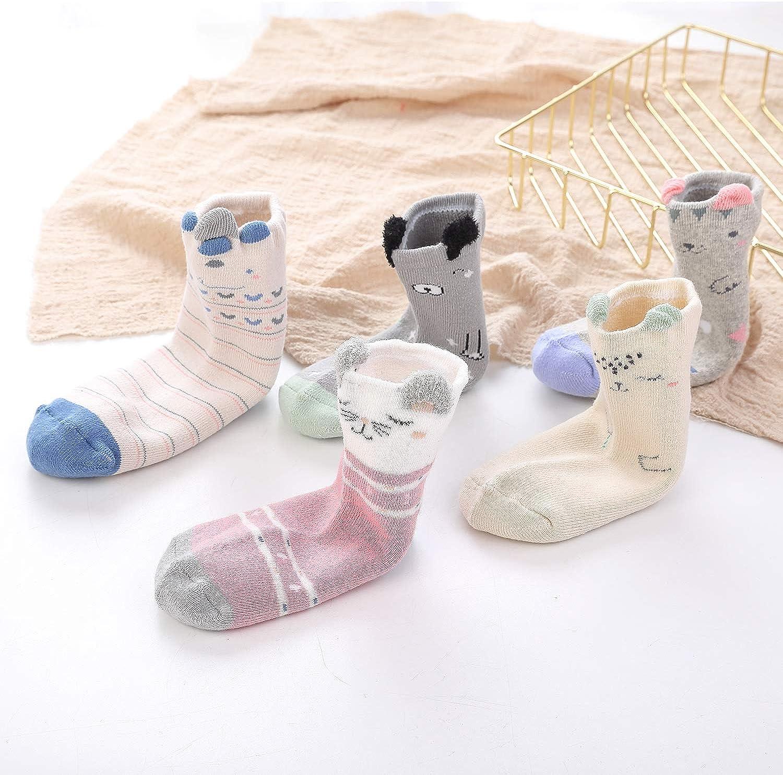 Lamdgbway 5 Pairs Kids Cartoon Animal Cotton Socks Winter Toddler Crew Seamless Socks Boy Girl