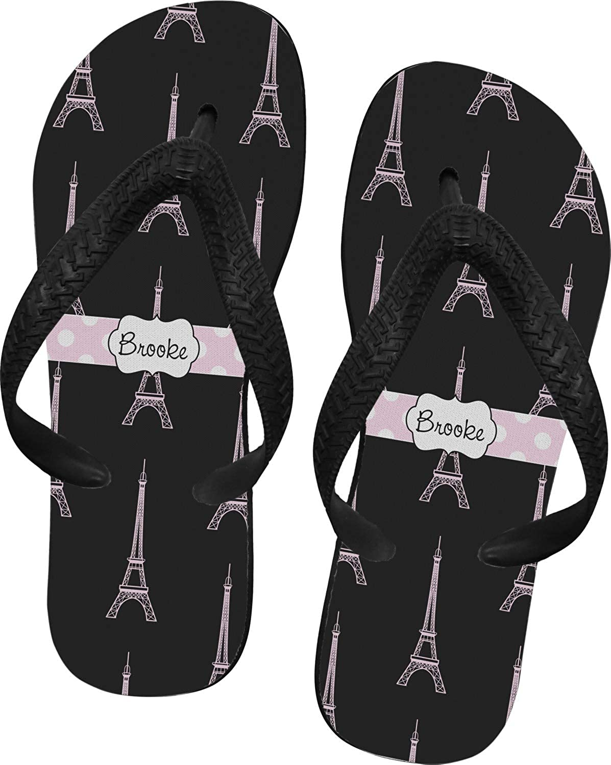 Personalized RNK Shops Black Eiffel Tower Flip Flops