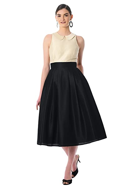 Vintage Evening Dresses eShakti Womens Peter Pan Collar Colorblock dupioni Dress $59.95 AT vintagedancer.com