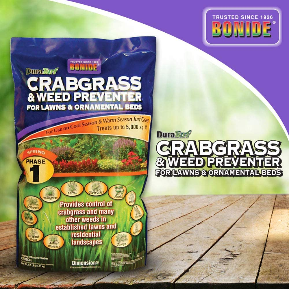 Bonide (BND60400) - Crabgrass and Weed Preventer, Dura Turf Crab-Grass Pre-Emergent Control for Lawn and Ornamental Garden Beds (9.5 lb.)