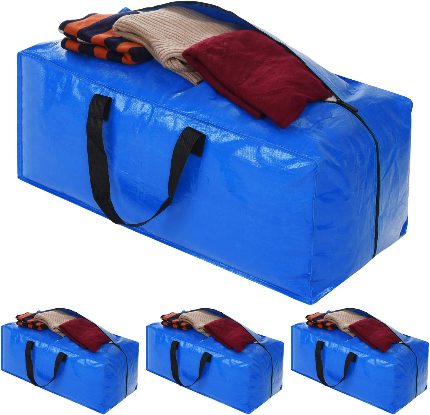 Heavy Duty Extra Large Storage Bags, XL Blue Moving Bags Totes with Zippers for Clothing Storage, Comforter, Blankets, College Moving , Cloth Storage Bags Compatible with Ikea Frakta Cart, 4 Packs