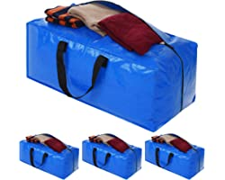 Heavy Duty Extra Large Storage Bags, Blue Moving Bags Totes with Zippers for Clothing Blanket Storage, Dorm College Moving Su