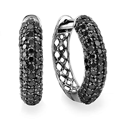 fbae639276a04 Dazzlingrock Collection 3.00 Carat (ctw) Black Rhodium Plated 10k Round  Black Diamond Men Iced Out Hoop Earrings 3 CT, White Gold