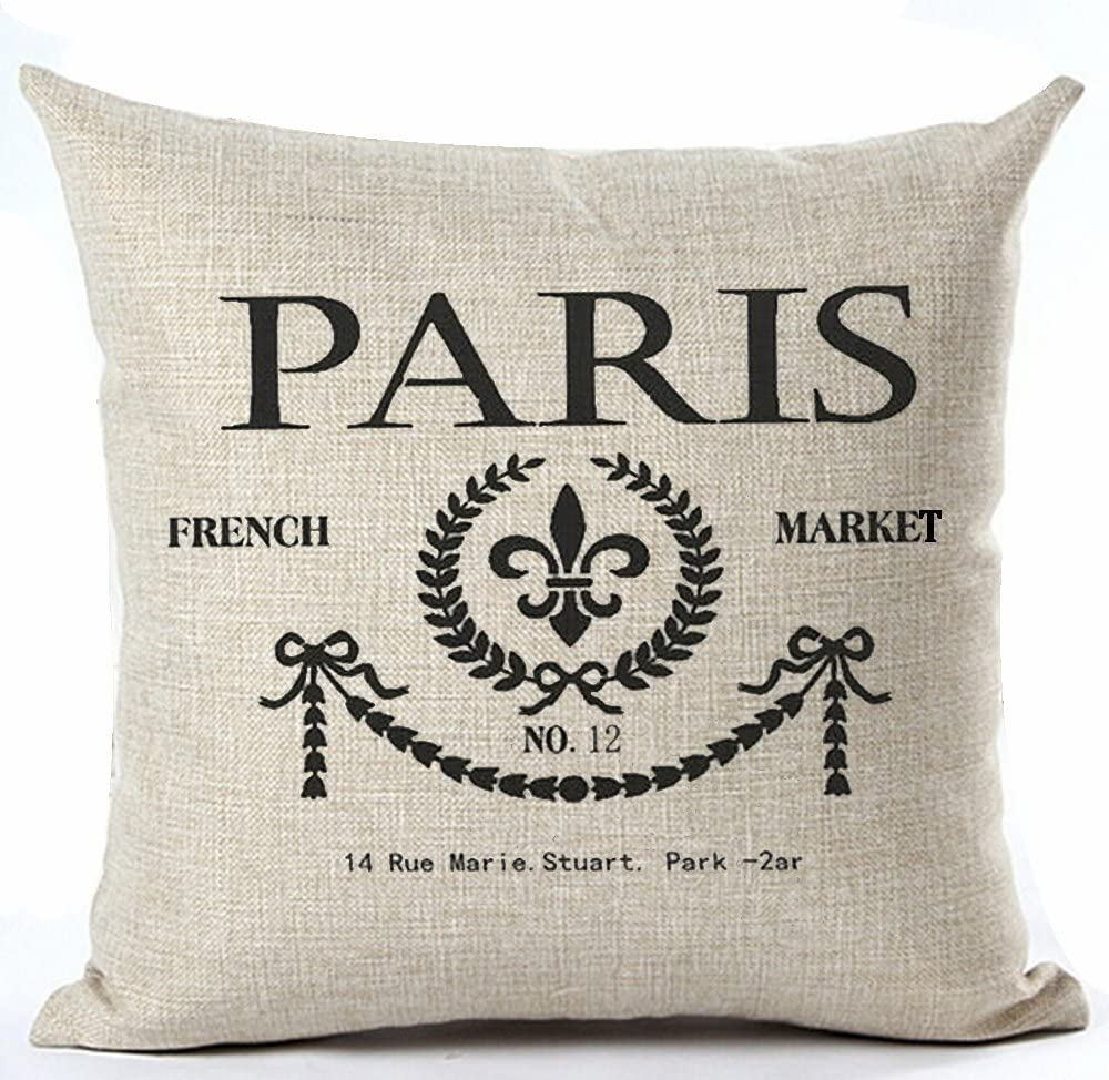 Amazon Com Andreannie Paris French Market No 12 Style Royal Sign Lily Cotton Linen Throw Pillow Case Cushion Cover Home Office Living Room Sofa Car Decorative Square 18 X 18 Inches Home Kitchen