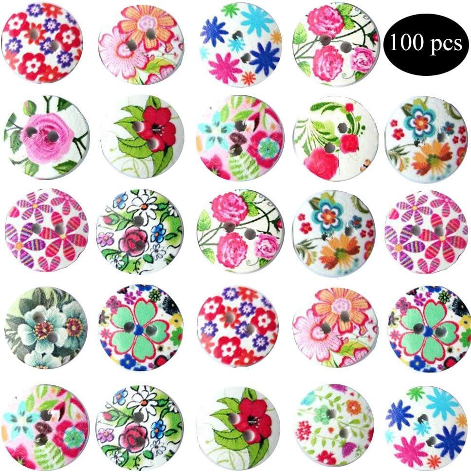 100 Pezzi Bottoni Artigianali in Legno Bottoni in Legno Bottoni a Motivo Circolare con 2 Fori per Bottoni Vintage Bottoni per Cucito Fai-da-Te Accessori Bottoni Colorati Bottoni Colorati Rotondi