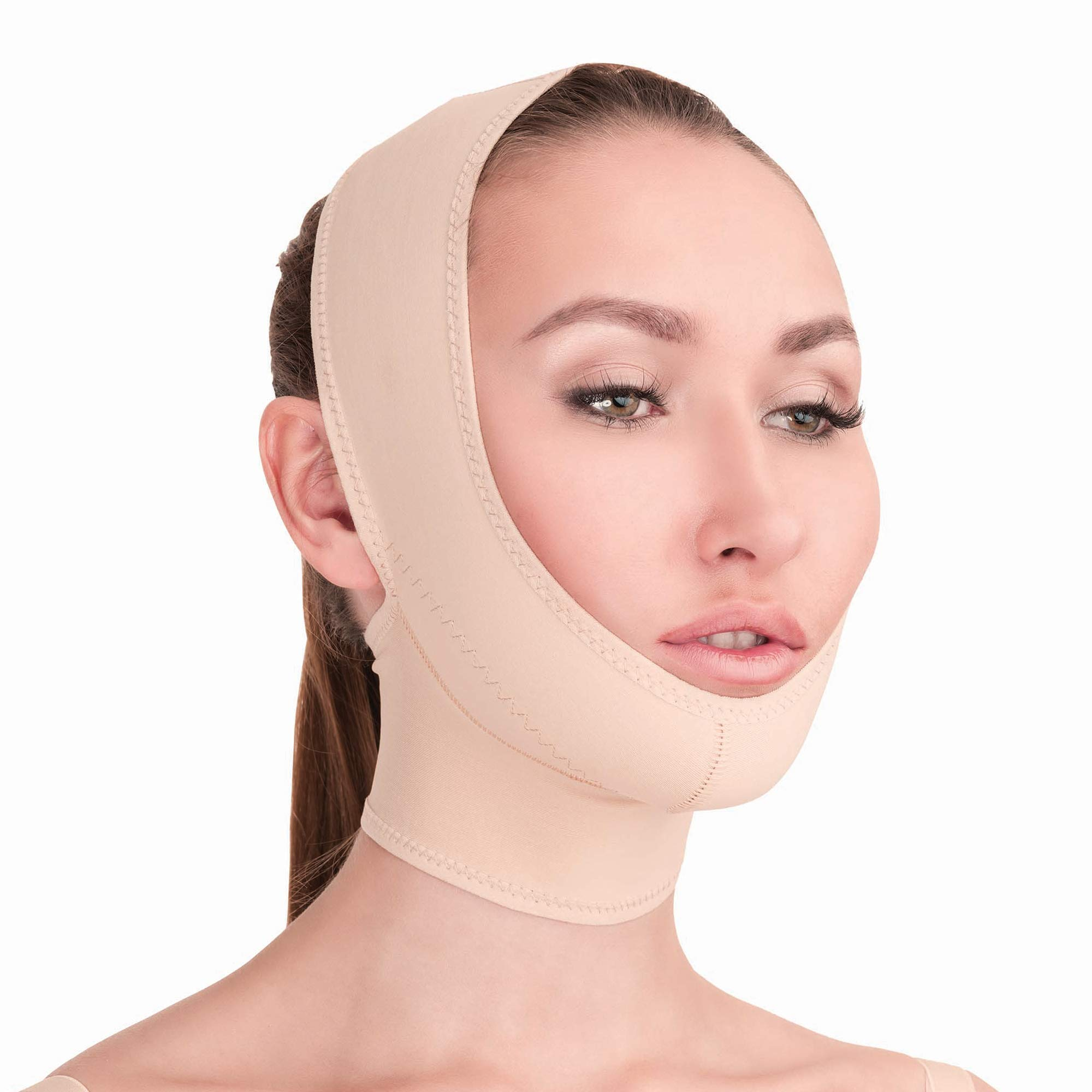 Post Surgical Chin Strap Bandage for Women - Neck and Chin Compression Garment Wrap - Face Slimmer, Jowl Tightening, Chin Lifting Medical Anti Aging Mask (Beige, L) by V T VARITEKS
