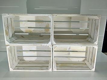 set 4 cajas madera blanco vintage tipo fruta - Cajas De Madera Fruta