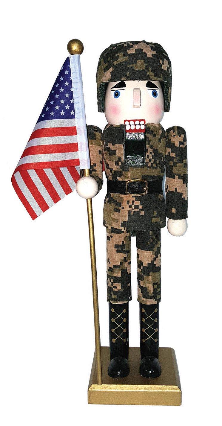 Santa's Workshop 70623 Army Nutcracker with Flag 14'' Multi