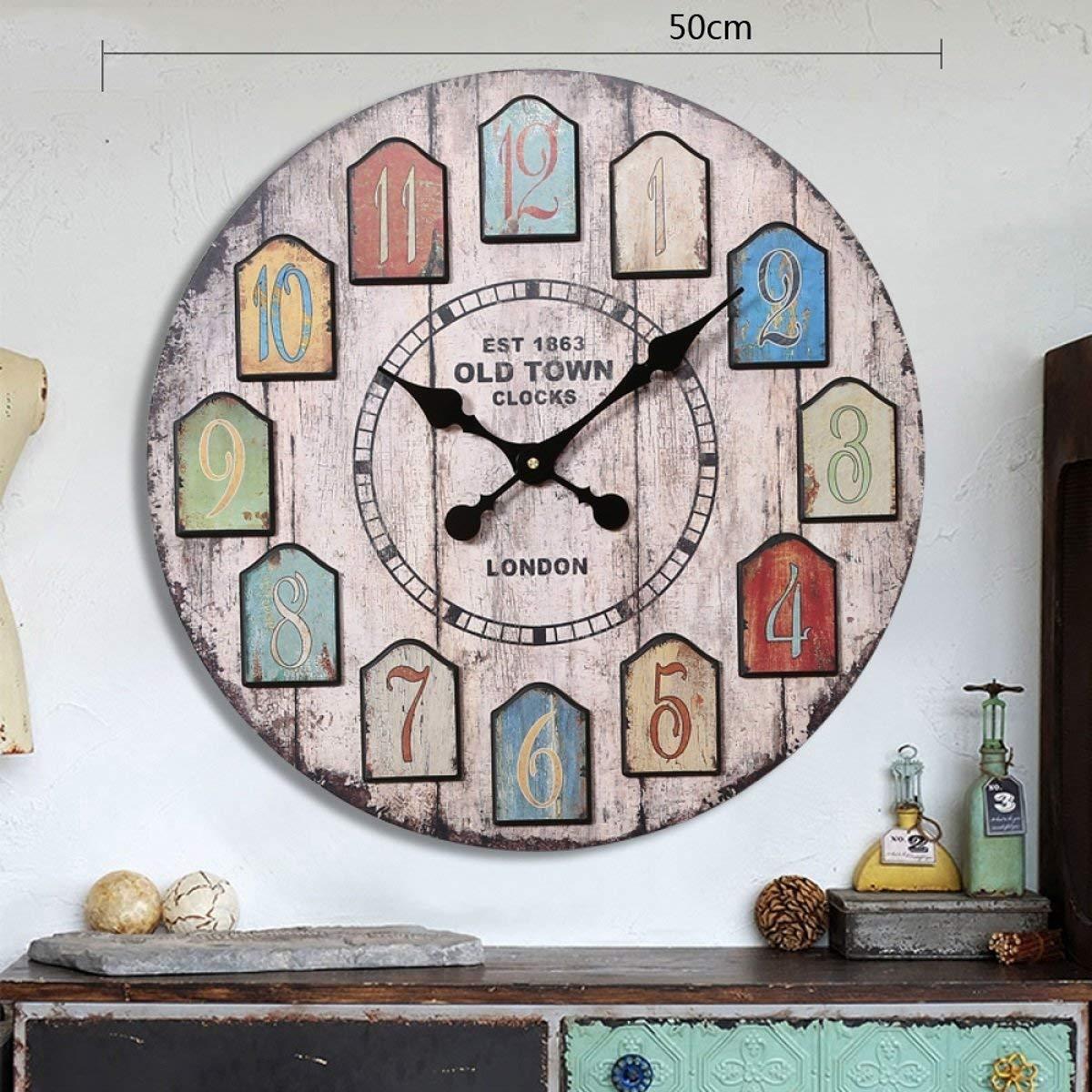 Hermosa y Practica Reloj de Pared Estilo Americano Vintage Village Estilo Industrial Sala de Estar Mural de Madera Colgante (Diámetro 50cm Embalaje de 1) (Color: A) ( Color : B )