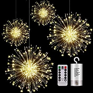 KJOY 4Pcs Firework Lights LED Hanging Starburst Lights Copper Wire LED Lights, Battery Operated Fairy String Lights with Remote, 8 Modes Dimmable Light for Party, Christmas, Outdoor