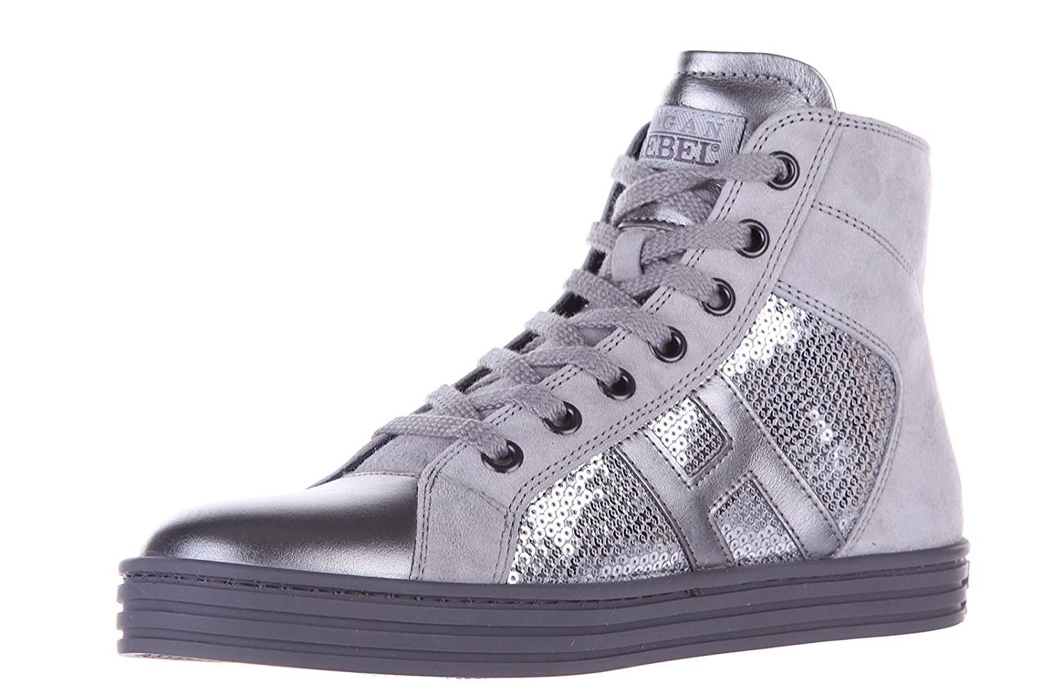 e79ffb724b86f Hogan Rebel Girls Shoes Child Leather high top Sneakers r141 Paillettes  Silver  Amazon.co.uk  Shoes   Bags