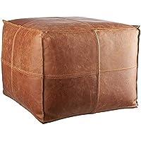 "LEATHEROOZE Handmade Leather Unstuffed Moroccan Square Pouf Seat Boho Ottoman 18x18x14"" / Living Room Bedroom TV Room/A…"