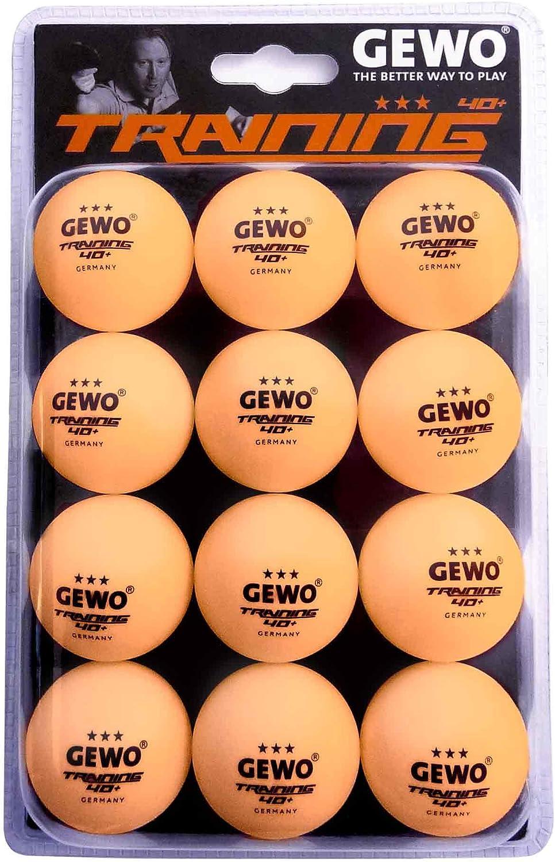 GEWO Unisex - Pelota de Tenis de Mesa para Adultos de 3 Estrellas, Pack de 12 Unidades, Pelota de Entrenamiento 40, Naranja, 40 mm
