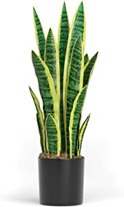 "Barnyard Designs Artificial Snake Plant, Faux Sansevieria, Mother in Law's Tongue, Viper's Bowstring Hemp, Saint George Sword Indoor Fake Plant Decoration for Home Decor, 26"" Tall"