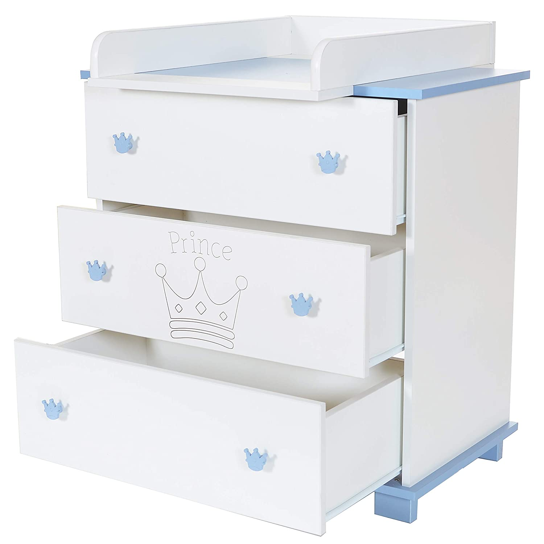Wickel-Kommode Baby Wickelauflage Aufsatz abnehmbar 3 grosse Schubladen; wei/ß-blau