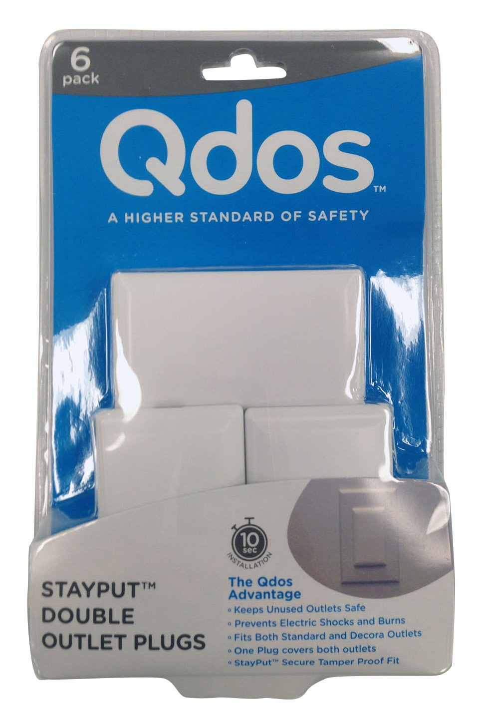 QDOS STAYPUT Double Outlet Plug Cover - One Plug Covers Both Outlets! - Secure Fit and Beveled Edges Prevent Small Fingers from Removing Unlike Inferior Products| Fits All Outlets | 6 Pack | White Regal Lager 5712088210589